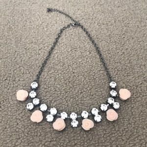 necklace with rose and crystal detail